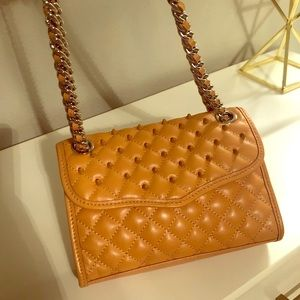 REBECCA MINKOFF Leather Studded Quilted Purse
